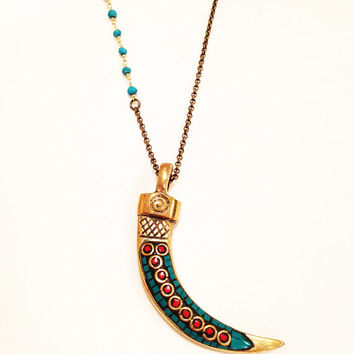 Tibetan Turquoise and Coral Inlay Brass Horn Necklace, Bohemian