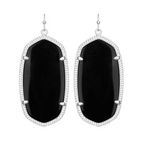 Kendra Scott Danielle Black Opaque Glass Earrings Silver