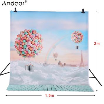 Andoer 1.5 * 2m Photography Background Backdrop Ballons Rainbow Blue Sky Pattern for Kids Baby Photo Studio Portrait Shooting