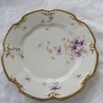 Vintage Limoges France Plate, LS & S Violets, Handpainted, Gold Rim, Wall Plate, 9 Inch