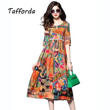Tafforda Spring New High Waist Chinese National Style Printing Silk Dress Summer Loose Casual High Quality Women's Dress