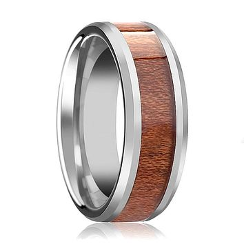 Tungsten Wood Ring - Rosewood Inlay - Tungsten Wedding Band - Polished Finish - 4mm - 6mm - 7mm - 8mm - 10mm - 12mm - Tungsten Wedding Ring