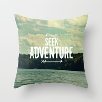 Seek Adventure Throw Pillow by Rachel Burbee
