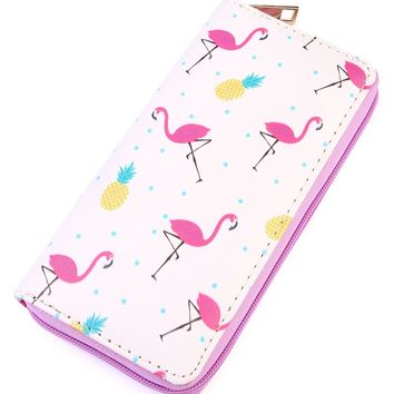 Flamingo Pineapple Print Single Zipper Wallet