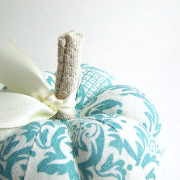 Turquois and White Pumpkin Pincushion by SeaPinks on Etsy