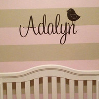 Personlized Birdie Vinyl Wall Art Decal