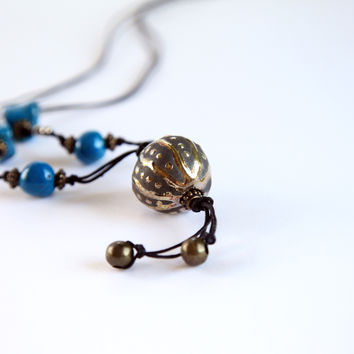 Ceramic long necklace in raku pottery, gold, turquoise, ooak