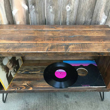 Dark walnut record / vinyl holder / entertainmelont center /tv stand / console. Reclaimed wood mid century modern