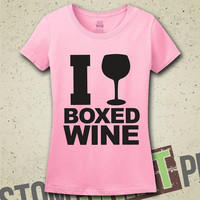 I Drink Boxed Wine T-Shirt - Tee - Shirt - Funny - Humor - Gift for Wife - Wino - I Love Wine - Wine - Lush - Alcohol - Gift for Friend