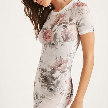 Sheer Floral Mesh Mini Dress