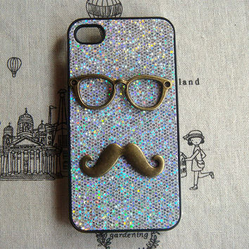 Steampunk Glasses Mustache bling glitter hard case For Apple iPhone 4 case iPhone 4s case cover