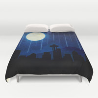 Seattle at Night Duvet Cover by Noonday Design