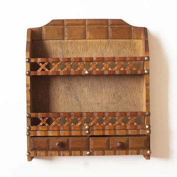Vintage Rustic Wooden Wall Spice Rack, Criss Cross Spice or Display Shelf with Drawers
