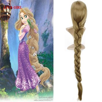 Women Princess Rapunzel Golden Wig Halloween Role Play Tangled gold long Ponytail Cosplay Wig