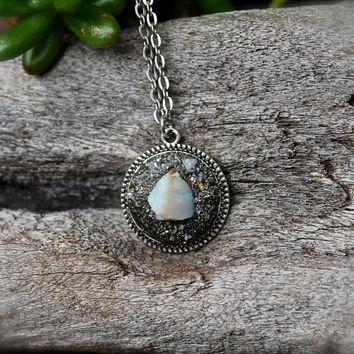 Natural Opal Necklace - Crushed Pyrite Jewelry from Hawaii - October Birthstone Necklace - Raw Opal Jewelry - Wiccan Necklace - Boho Jewelry