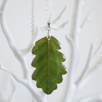 Green Oak Leaf Necklace Resin Real Pressed Flower Botanical Specimen Jewelry