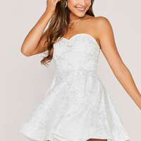 Strapless Sequined Flared Mini Dress