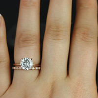 Skinny Alberta 8mm & Ultra Petite Bead Eye 14kt Rose Gold Round FB Moissanite Wedding Set (Other metals and stone options available)