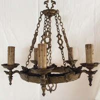 Antique Gothic Chandelier Tudor Medieval Nice Original Condition 1800s Rewired
