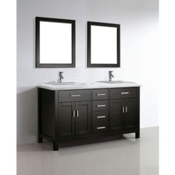 Studio Bathe, Kelly 63 in. Vanity in Espresso with Solid Surface Marble Vanity Top in Carrara White and Mirror, KELLY 63 MID ESP-SSC at The Home Depot - Mobile