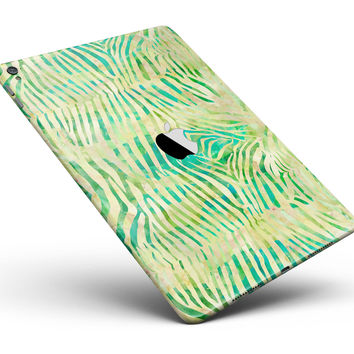 "Green Watercolor Zebra Pattern Full Body Skin for the iPad Pro (12.9"" or 9.7"" available)"