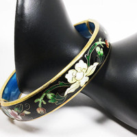 Cloisonne Floral Hinged Bangle Vintage 1970s 1980s Flowers on Black Enamel Stacking Bracelet