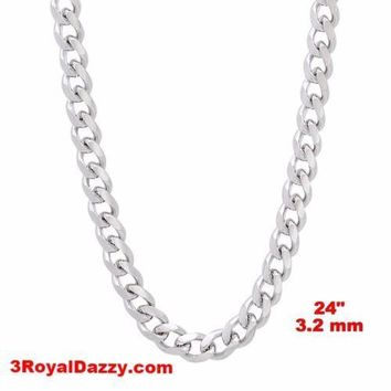"""14k White gold Layer on Solid 925 Sterling Silver Miami Cuban Chain- 3.2 mm- 24"""""""