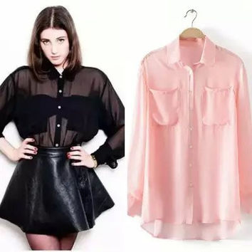 Summer Women's Fashion Simple With Pocket Blouse [6513329223]