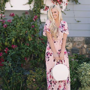 Bethany Blush Floral Maxi Dress