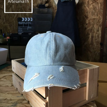 Plain denim Cap, Baseball Cap Hat, Denim Cap, Jean Cap, Girlfriend gift, Low-Profile Baseball Cap Baseball Hat