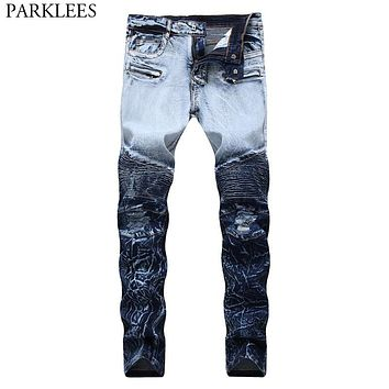 Double Color Ripped Biker Jeans Men 2018 Casual Wash Cotton Stretch Skinny Jeans Homme Hi Street Hip Hop Knee Folds Jeans Hombre