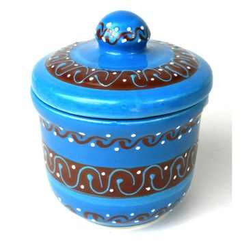 Sugar Bowl - Azure Blue - Mexican Pottery