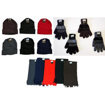 Cuffed Winter Knit Hats, Men's Knit Gloves, and As