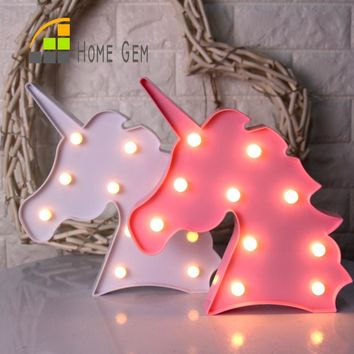 12inch LED Plastic Unicorn Shape Marquee Sign Indoor Room Deration Night Light Luminarias Led Abajur Wireless Wall Lamp For Gift