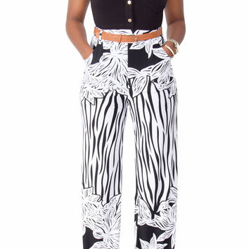 Short Sleeve Flare Bottom Belted Jumpsuit