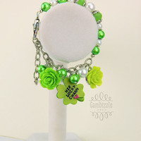 St. Patrick's Day Bracelet, His Lucky Charm, st patty's day jewelry, st patricks day accessories, clover charm, lucky charm