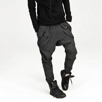 Mens Drop Crotch Hip Hop Sweatpants