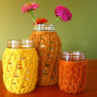 Thanksgiving Mason Jar Candleholders - Honey / Mustard / Rust - Set of 3