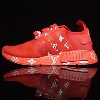 ADIDAS x LV RED LV NMD WHITE LETTERS Women Men Running Sport Casual Shoes Sneakers G