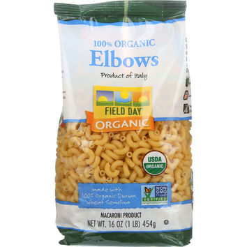 Field Day Pasta - Organic - Traditional - Elbows - 16 Oz - Case Of 12