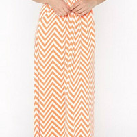 Afternoon in the Shade Chevron Maxi Dress - Orange