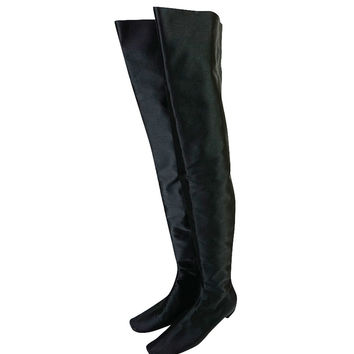 Early 2000s Marni Black Silk Thigh High Boots