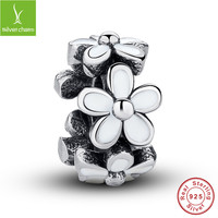 European 925 Sterling Silver Darling Daisies Spacer Charm Fit Original Pandora Bracelet Neckalce Authentic Jewelry Gift ALX-SCJS ALX-SCJS