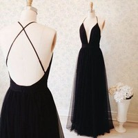 Long Black Prom Dress Open Back Spaghetti Straps Evening Dress