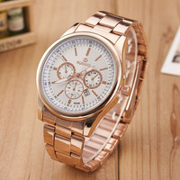 Fashion Rose Gold Alloy Band Strap Mrist Watch for Men Best Christmas Gift Watch-453