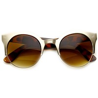 Trendy Full Metal Half Frame Cat Eye Round Sunglasses 8821