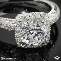 18k Yellow Gold Verragio Cushion Halo Bloom Diamond Engagement Ring