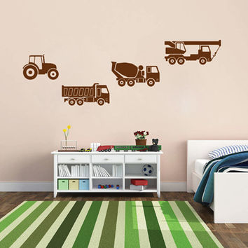 kik1511 Wall Decal Sticker tractor truck crane worker transport vehicle rack children's room