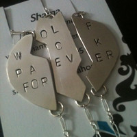 Wolf Pack Forever  - heart bracelets in 3 part -42.00 stamped,personalized custom silver