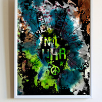 Inspirational Motivational Quote Print Make Love Not War Saying Peace Hippie Typography Watercolor Poster Bedroom Wall Art Decor